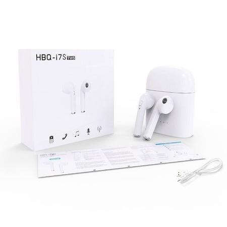 Безжични слушалки HBQ-I7 TWS с Power Bank кутия, Бял