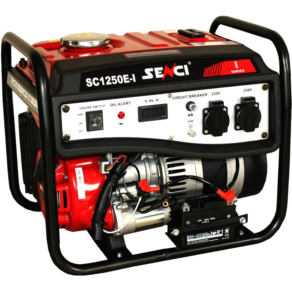 Fotografie Generator curent electric Senci SC1250E, 1000 W, 98 CC, stabilizator de tensiune (AVR), 2 x 230 V, demaraj electric, rezervor 6 L, 12 h autonomie maxima