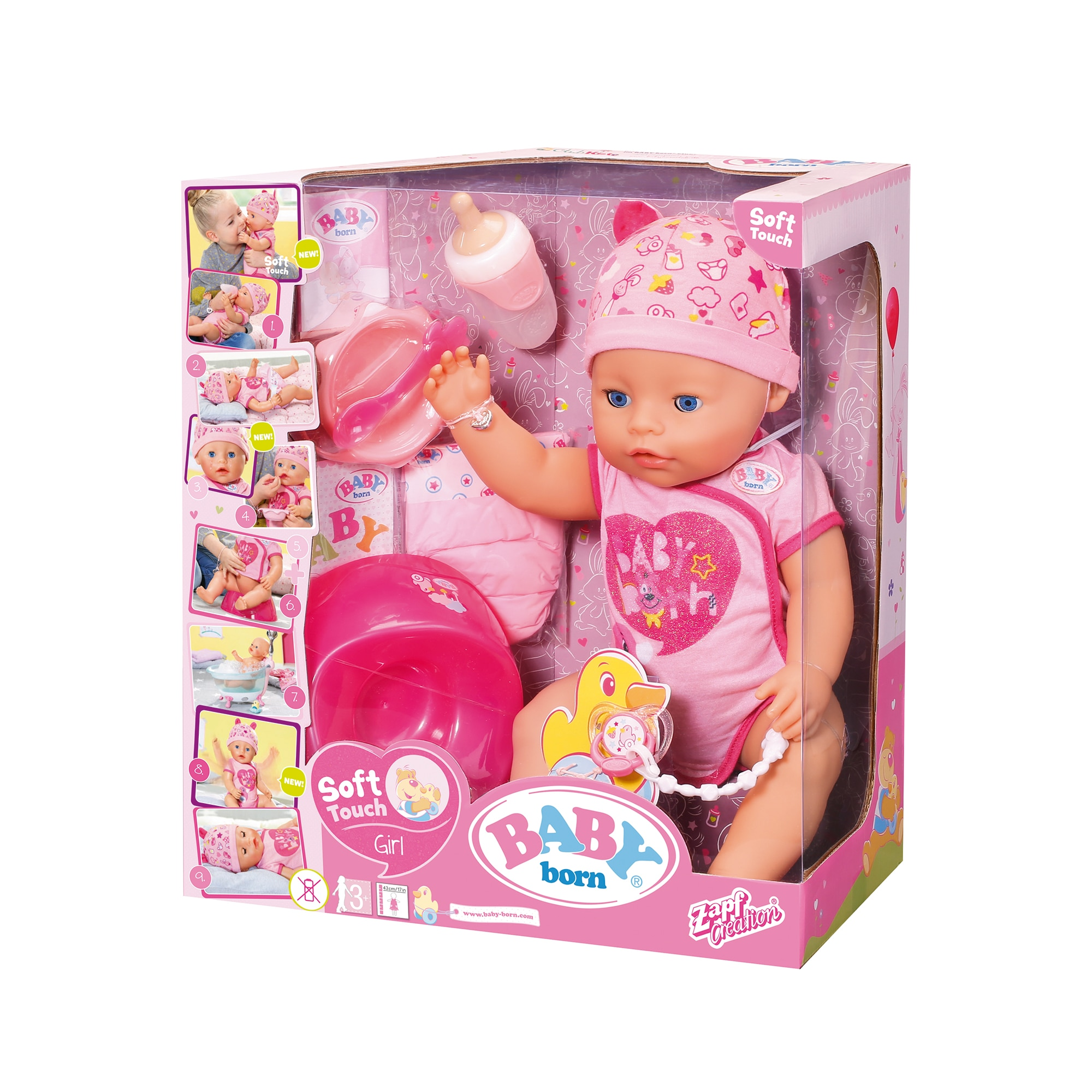 Fotografie Papusa Zapf Baby Born - Fetita interactiva, corp moale, roz, 43 cm, 11 accesorii