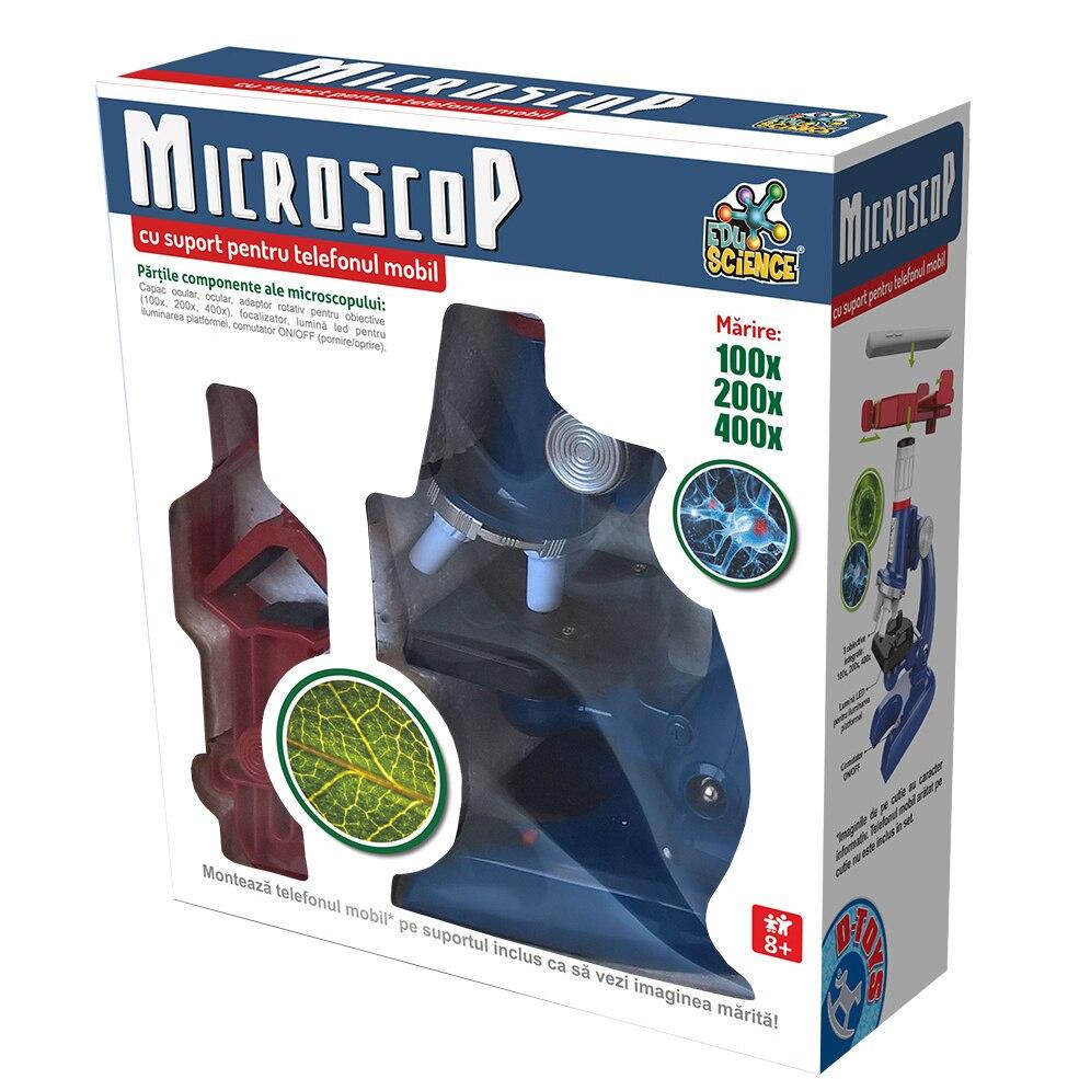 Fotografie Jucarie Edu Science D-Toys, Microscop cu suport pentru telefonul mobil