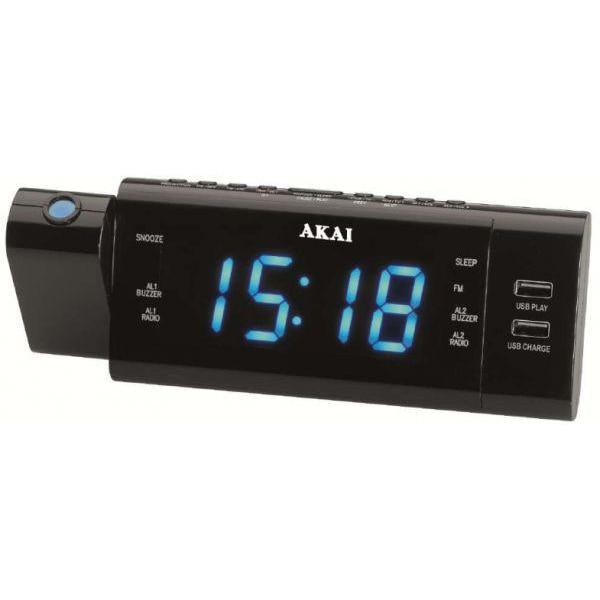 Fotografie Radio ceas Akai ACR-3888, proiectie, incarcator telefon USB, negru