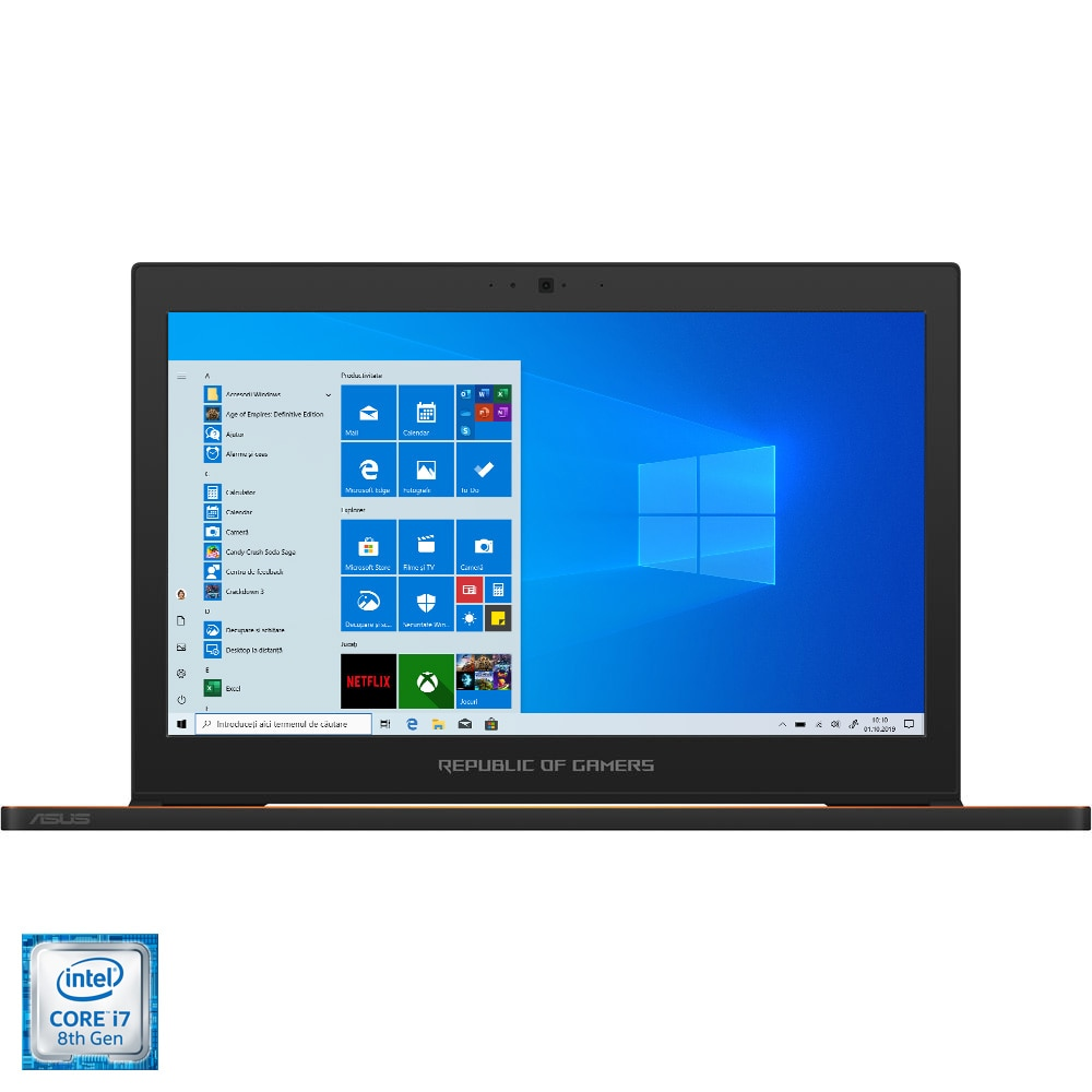 "Fotografie Laptop Gaming ASUS ROG New ZEPHYRUS GX501GI cu procesor Intel® Core™ i7-8750H pana la 4.10 GHz, Coffee Lake, 15.6"", Full HD, 144Hz, 3ms G-Sync, 24GB, 512GB SSD, NVIDIA GeForce GTX 1080 8GB Max-Q, Microsoft Windows 10, Black"