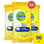 Dettol Power&Fresh univerzális felülettisztító törlőkendő, Citrom&Lime, 3 x 32db