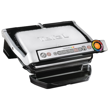 Електрическа скара Tefal Optigrill+ Wafles GC716D12, 2000W, 6 програми, Индикатор за нивото на готовност, Подвижни плочи, Аксесоари за гофрети, Черна/Сребриста