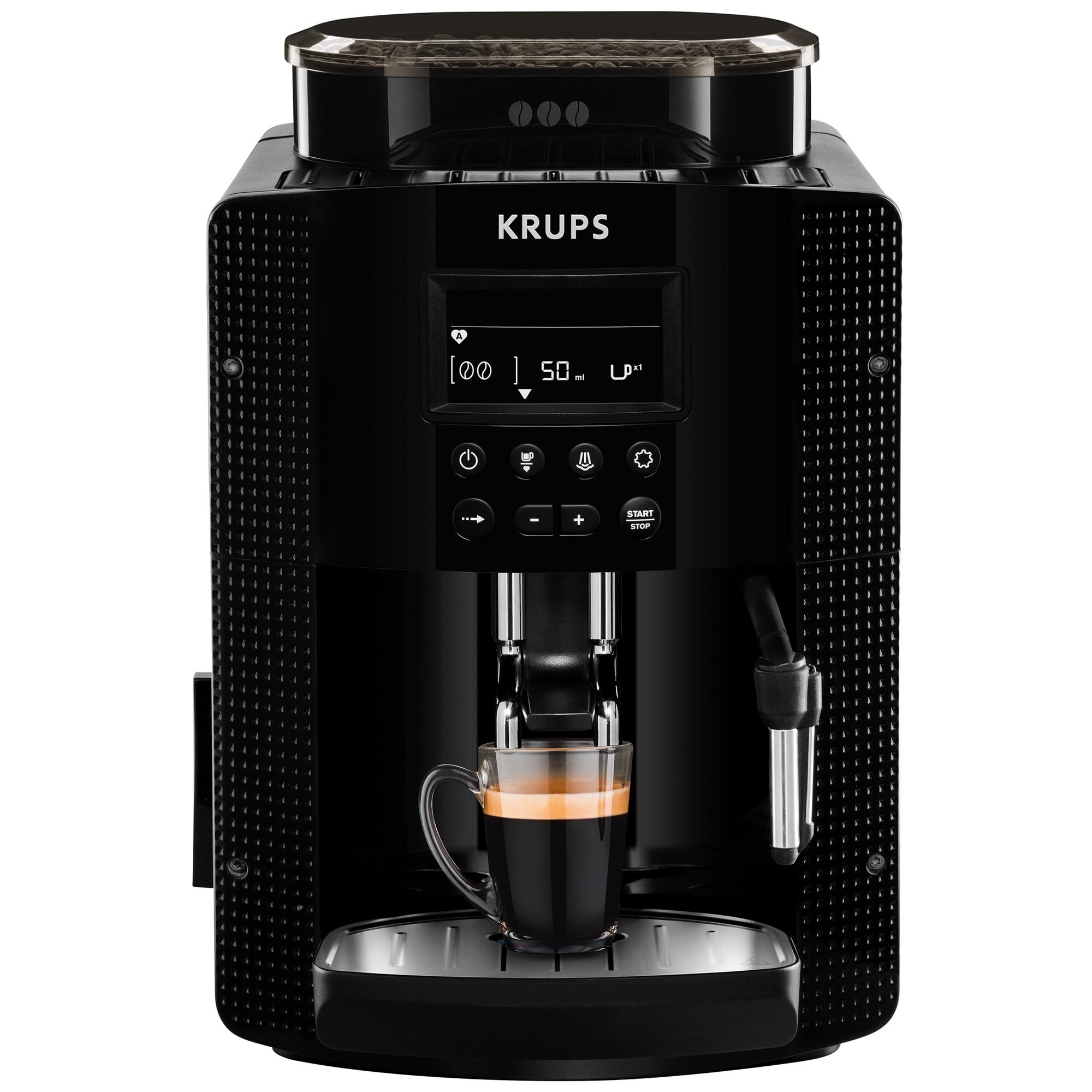 Fotografie Espressor automat Krups Essential EA81P070, 1450 W, Sistem Thermoblock, 15 bari, Ecran LCD, 3 functii, Duza pentru cappuccino, Recipient boabe de 260g, Negru