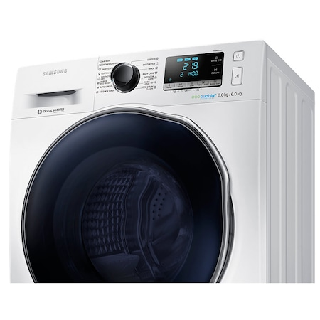 Masina de spalat rufe cu uscator Samsung WD80J6410AW/LE, 1400 RPM, Spalare 8kg, Uscare 6kg, Clasa A, Alb