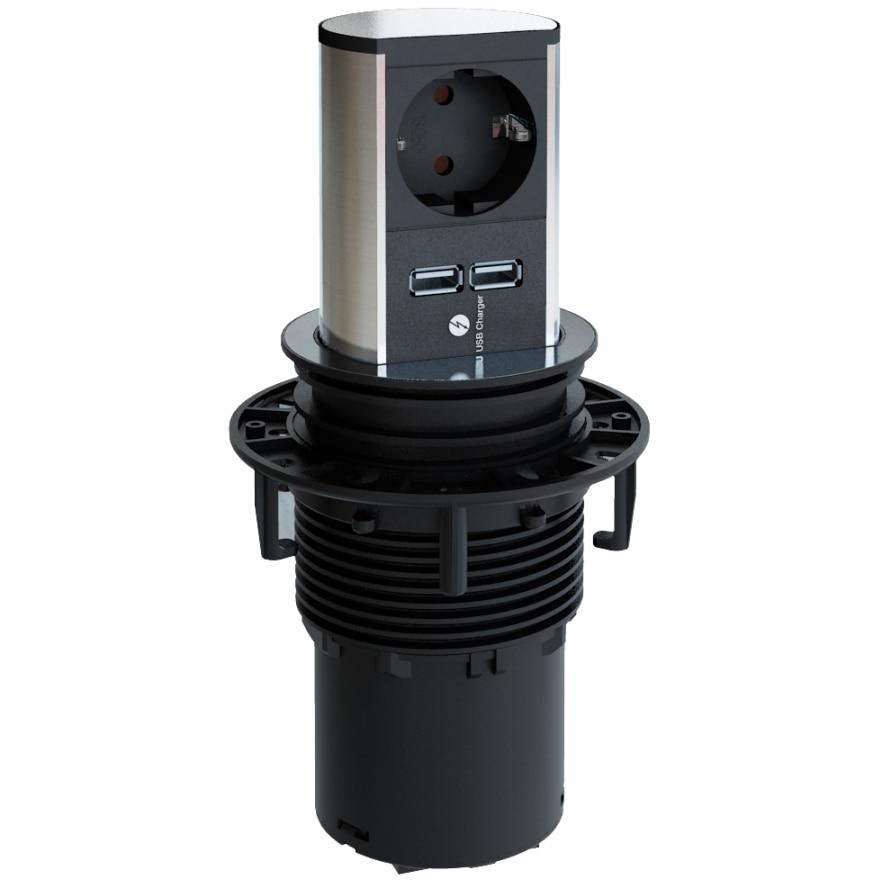 Fotografie Multipriza incorporabila pentru blat de bucatarie Bachmann Elevator 1xSchuko si dublu incarcator USB, cordon 2m + stecker Schuko montabil