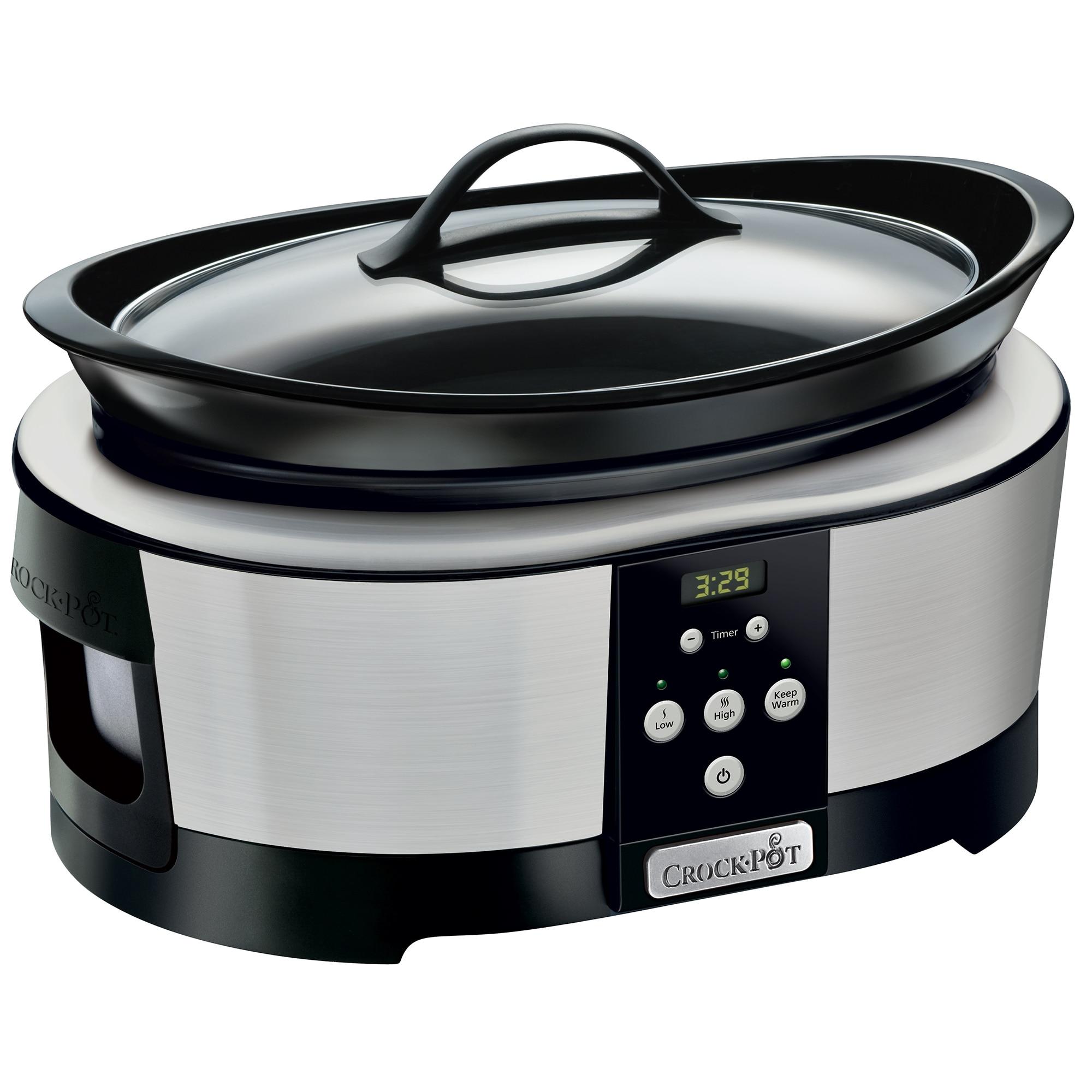 Fotografie Slow cooker Crock-Pot SCCPBPP605-050, 5.7 l, 2 Setari gatit, Functie pastrare la cald, Display electronic, Timer, Vas de ceramica detasabil, Argintiu