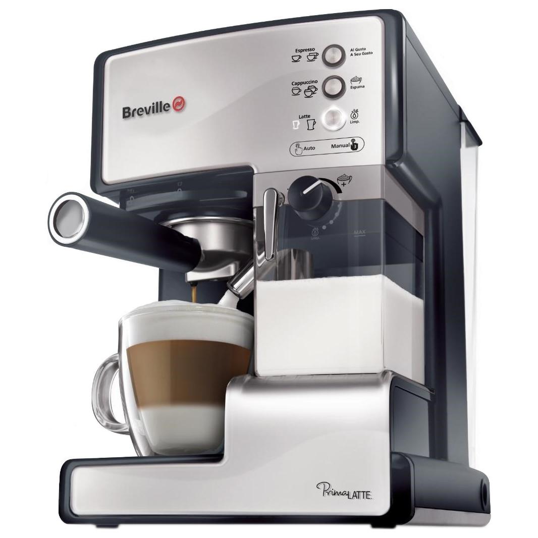 Fotografie Espressor manual Breville Prima Latte VCF045X-01, 15 bari, 1.5 l, Recipient detasabil lapte 0.3 l, Argintiu