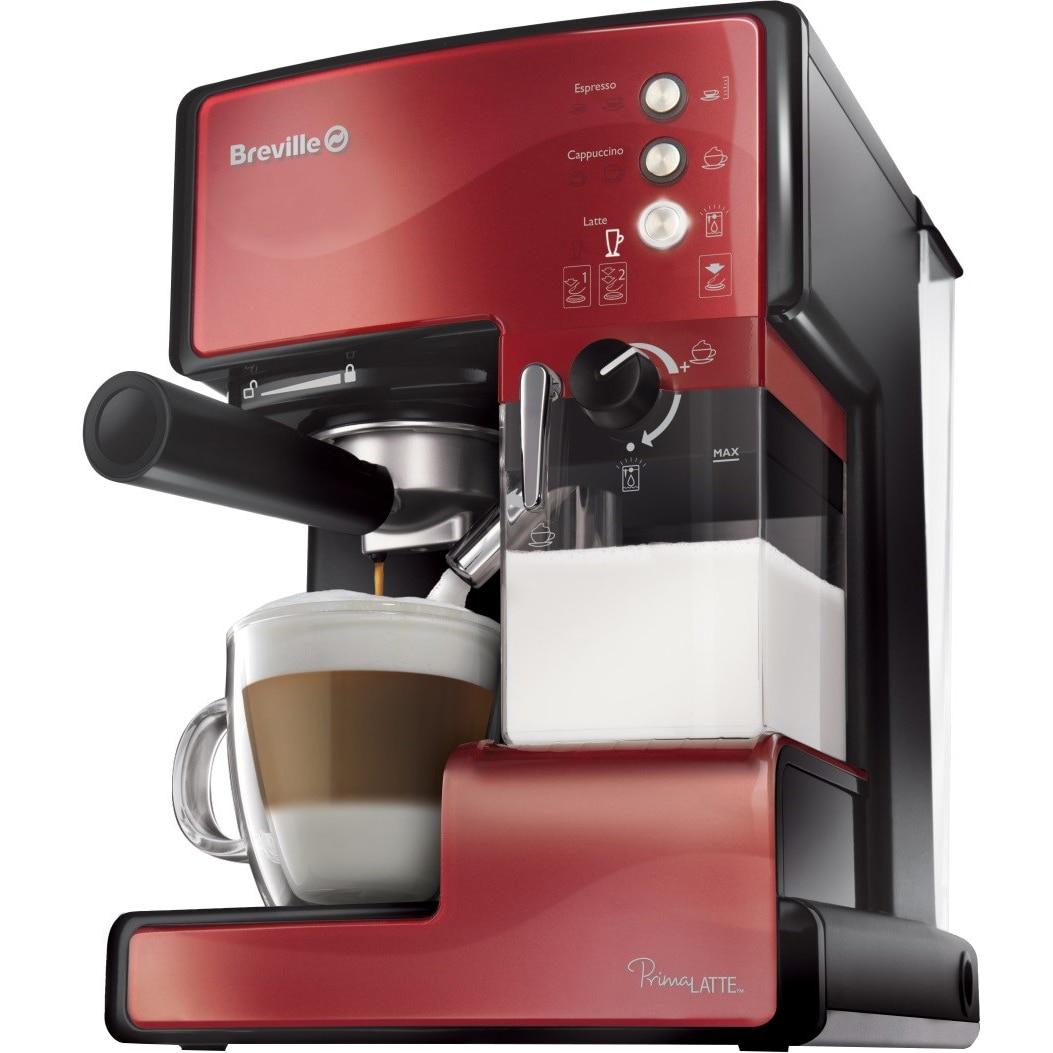 Fotografie Espressor manual Breville Prima Latte VCF046X-01, 15 bari, 1.5 l, Recipient detasabil lapte 0.3 l, Rosu inchis