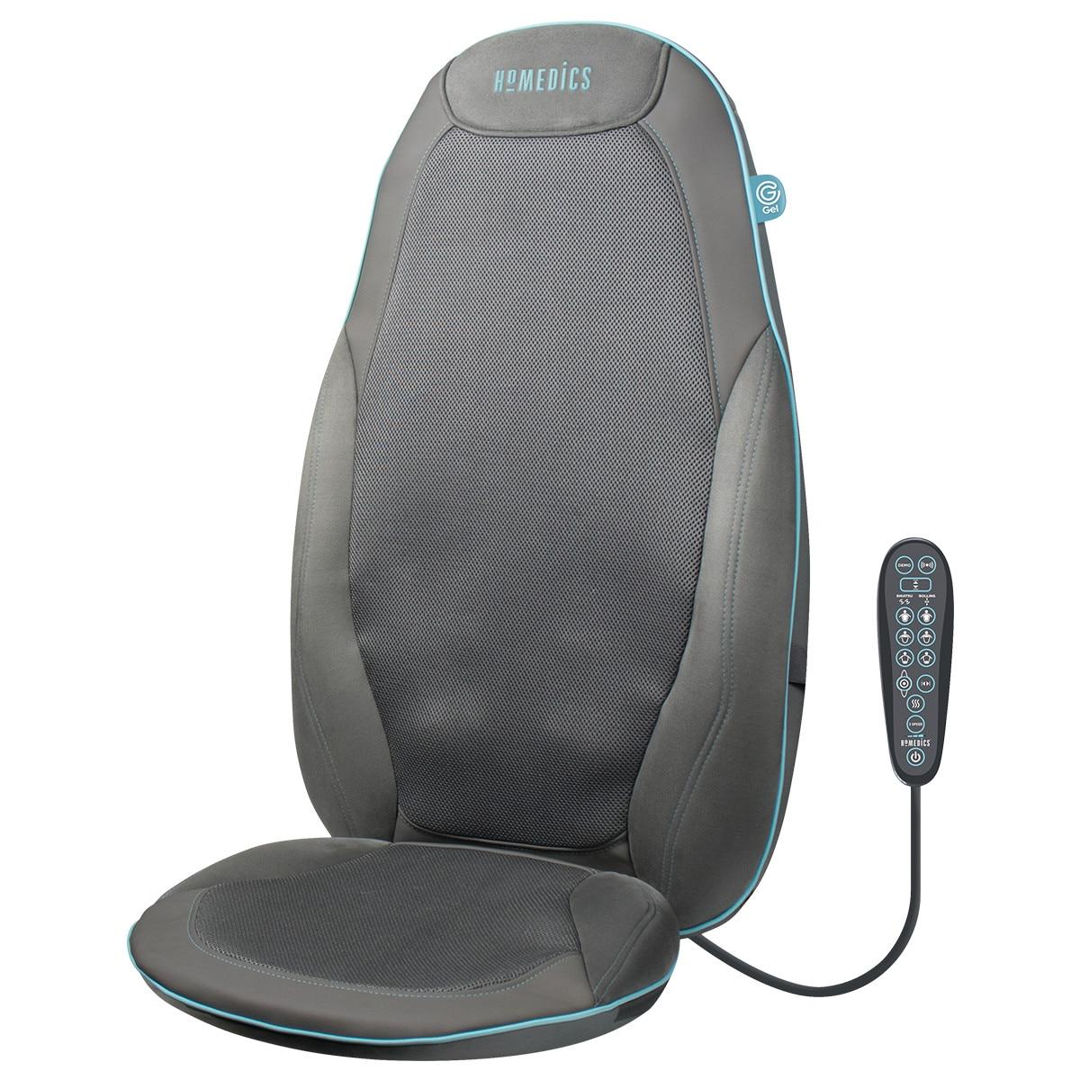 Fotografie Husa de scaun pentru masaj shiatsu cu gel, SGM-1300H-EU, HoMedics, 6 programe presetate, telecomanda, functie demo, Gri