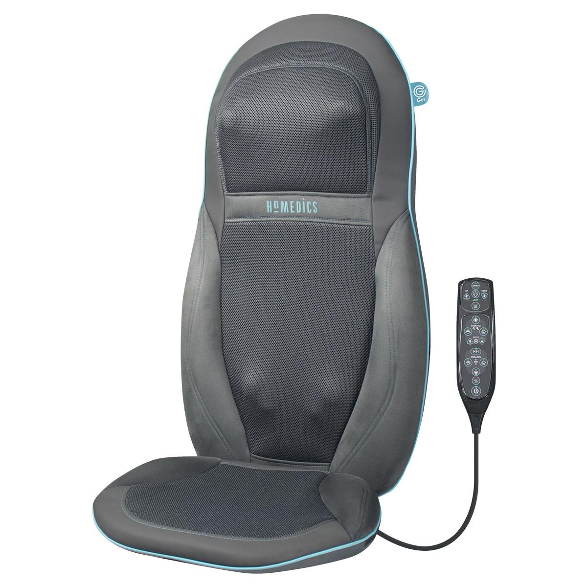 Fotografie Husa de scaun cu masaj Shiatsu, pentru spate si umeri cu gel, SGM-1600H-EU, HoMedics, 6 programe presetate, functie caldura, telecomanda, Gri