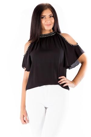 Bluza neagra eleganta fara umeri, Negru, 40 EU, WS859/01-12