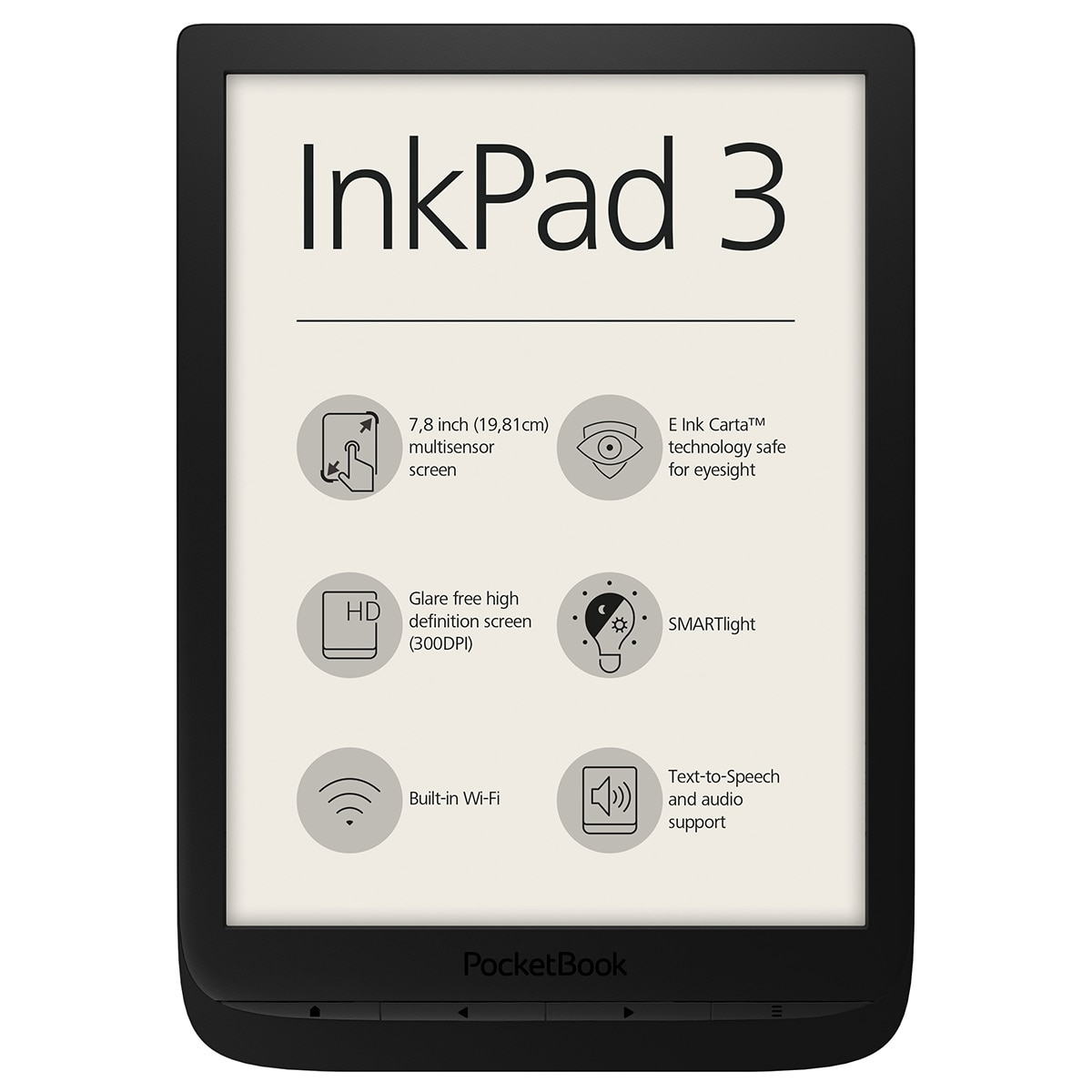 "Fotografie eBook Reader PocketBook Inkpad 3, 7.8"", 8GB+slot card extern, WiFi, Negru"