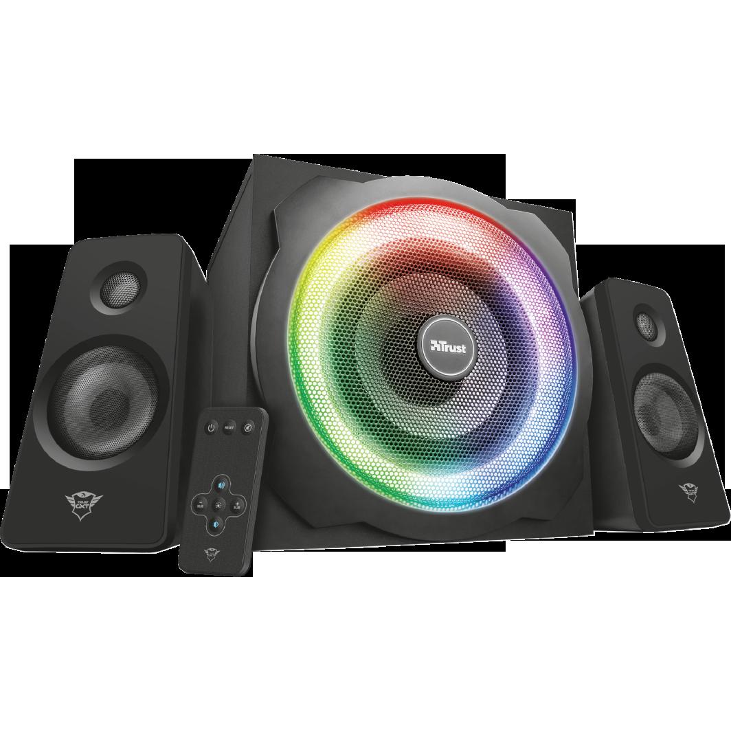 Fotografie Boxe gaming Trust 2.1 GXT 629 Tytan, iluminare RGB, telecomanda wireless, Negru