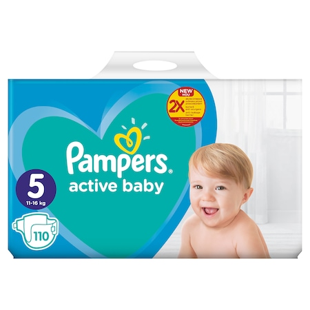 Пелени Pampers Active Baby Mega Box, Размер 5, 11 -16 кг, 110 броя