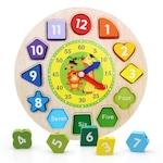Jucarie educativa si interactiva Montessori, ceas din lemn, cu diferite forme geometrice colorate, DLP033