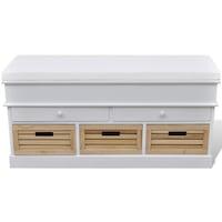 vidaXL Tároló / bejárati párnatetős 2 fiókos és 3 tároló láda pad fehér