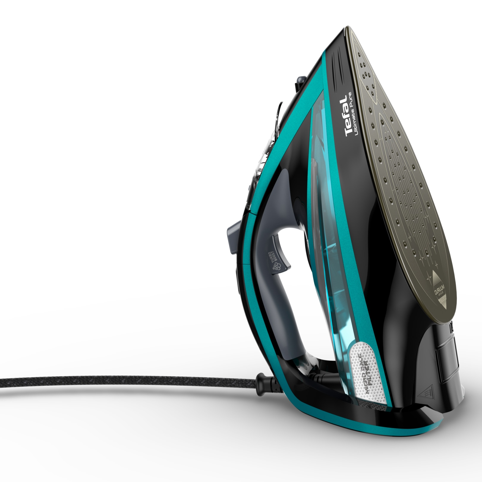 Tefal FV9844E0 Ultimate Pure vasaló, 3200 W, Durilium AirGlide öntiszttó vasalótalp, gőzsugár 250gr/perc, 2 az 1-ben Micro-Calc szűrő, Fekete/Kék IZsyRB
