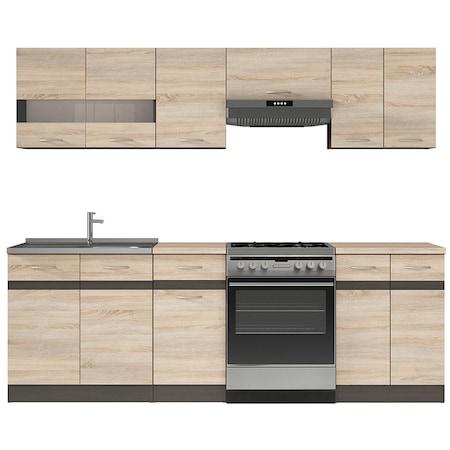 Комплект мебели за кухня Kring Yasmine, 240x195.5x60 см, Дъб Сонома