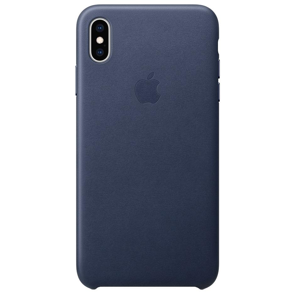 Fotografie Husa de protectie Apple pentru iPhone XS Max, Piele, Midnight Blue