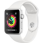 Apple Watch Series 3, GPS, Ezüstszínű Alumínium tok, Fehér sportszíjjal, 38 mm, Ezüst