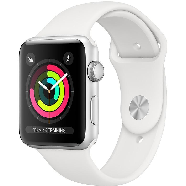 Fotografie Apple Watch 3, GPS, Carcasa Silver Aluminium 42mm, White Sport Band