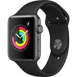 Apple Watch Series 3, GPS, Asztroszürke Alumínium tok, Fekete sportszíjjal, 42 mm, Szürke