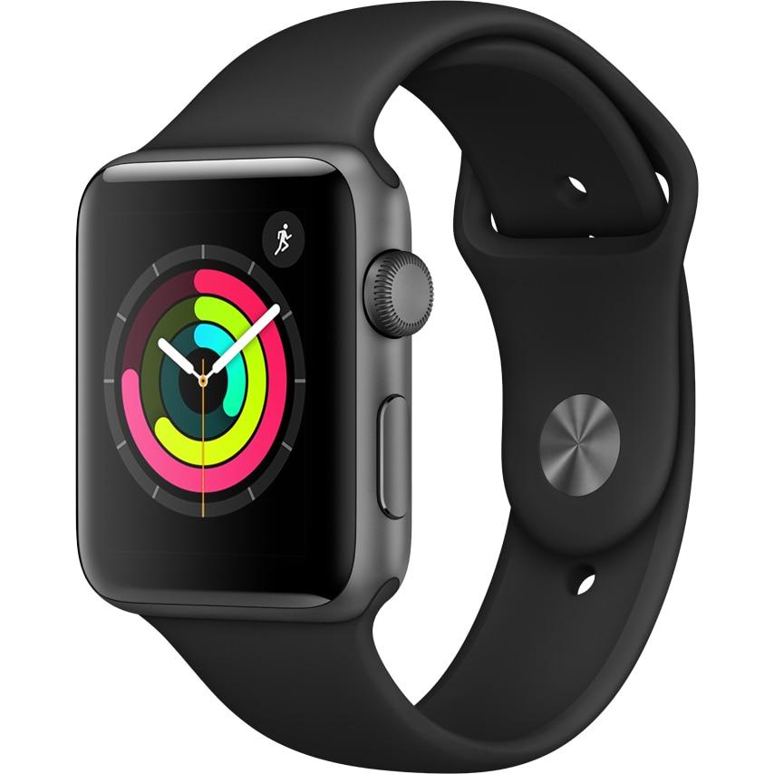 Fotografie Apple Watch 3, GPS, Carcasa Space Grey Aluminium 38mm, Black Sport Band