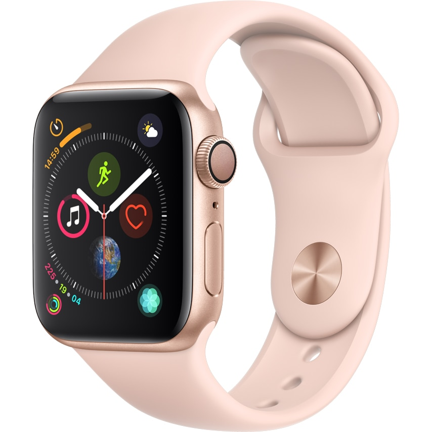 Fotografie Apple Watch 4, GPS, Carcasa Gold Aluminium 40mm, Pink Sand Sport Band