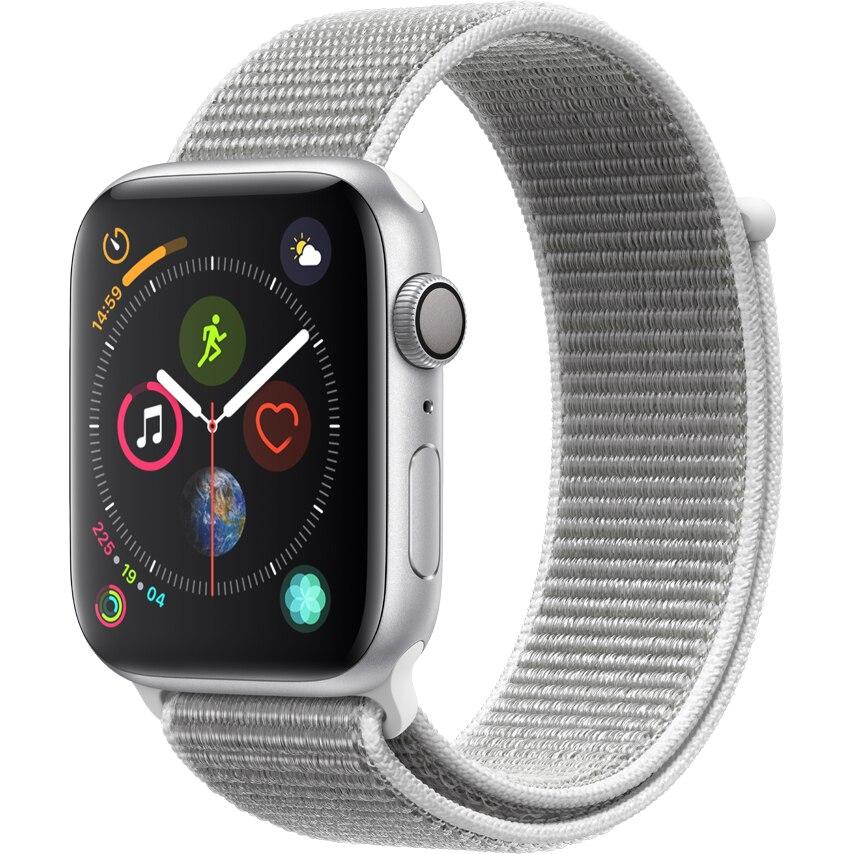 Fotografie Apple Watch 4, GPS, Carcasa Silver Aluminium 44mm, Seashell Sport Loop
