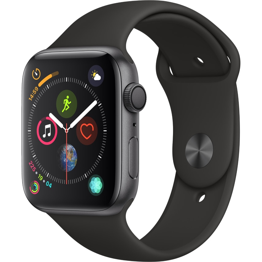 Fotografie Apple Watch 4, GPS, Carcasa Space Grey Aluminium 44mm, Black Sport Band