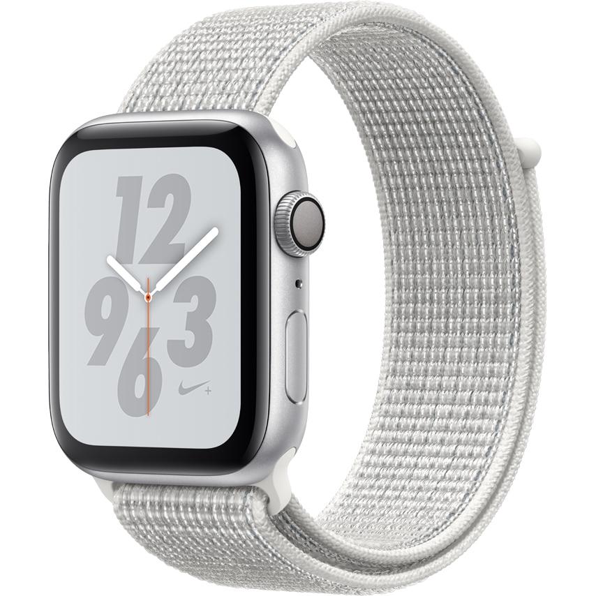 Fotografie Apple Watch Nike+ 4, GPS, Carcasa Silver Aluminium 44mm, Summit White Nike Sport Loop