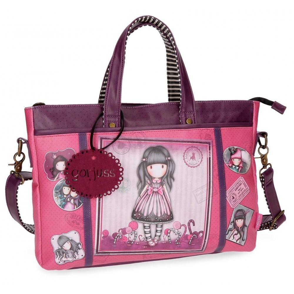 Purple Gorjuss Friends Walk Together Laptop Handbag 39x28x6,5 cms