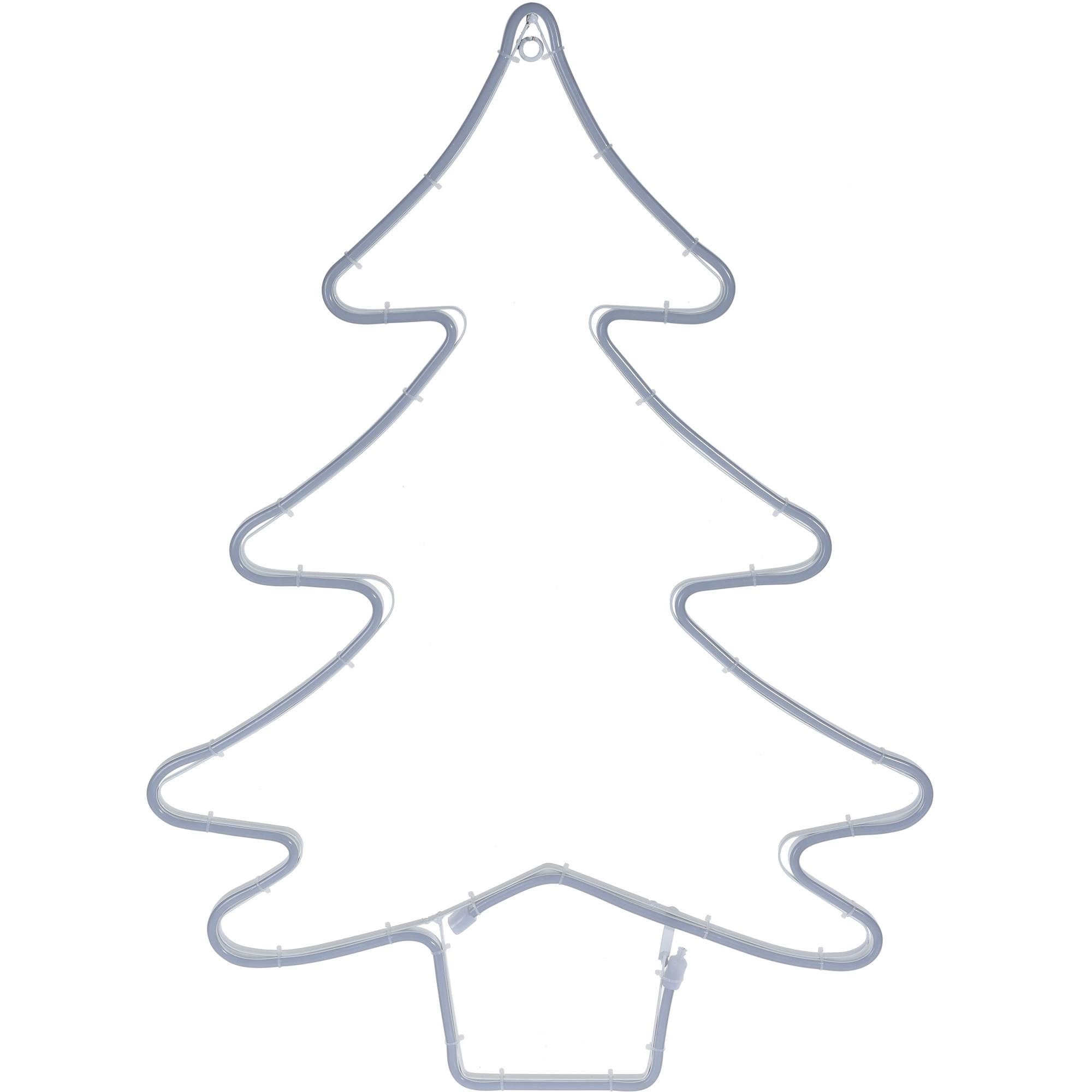 Fotografie Decoratiune luminoasa de Craciun in forma de brad eNoelle, 56x2x75 cm, lumina calda, alb