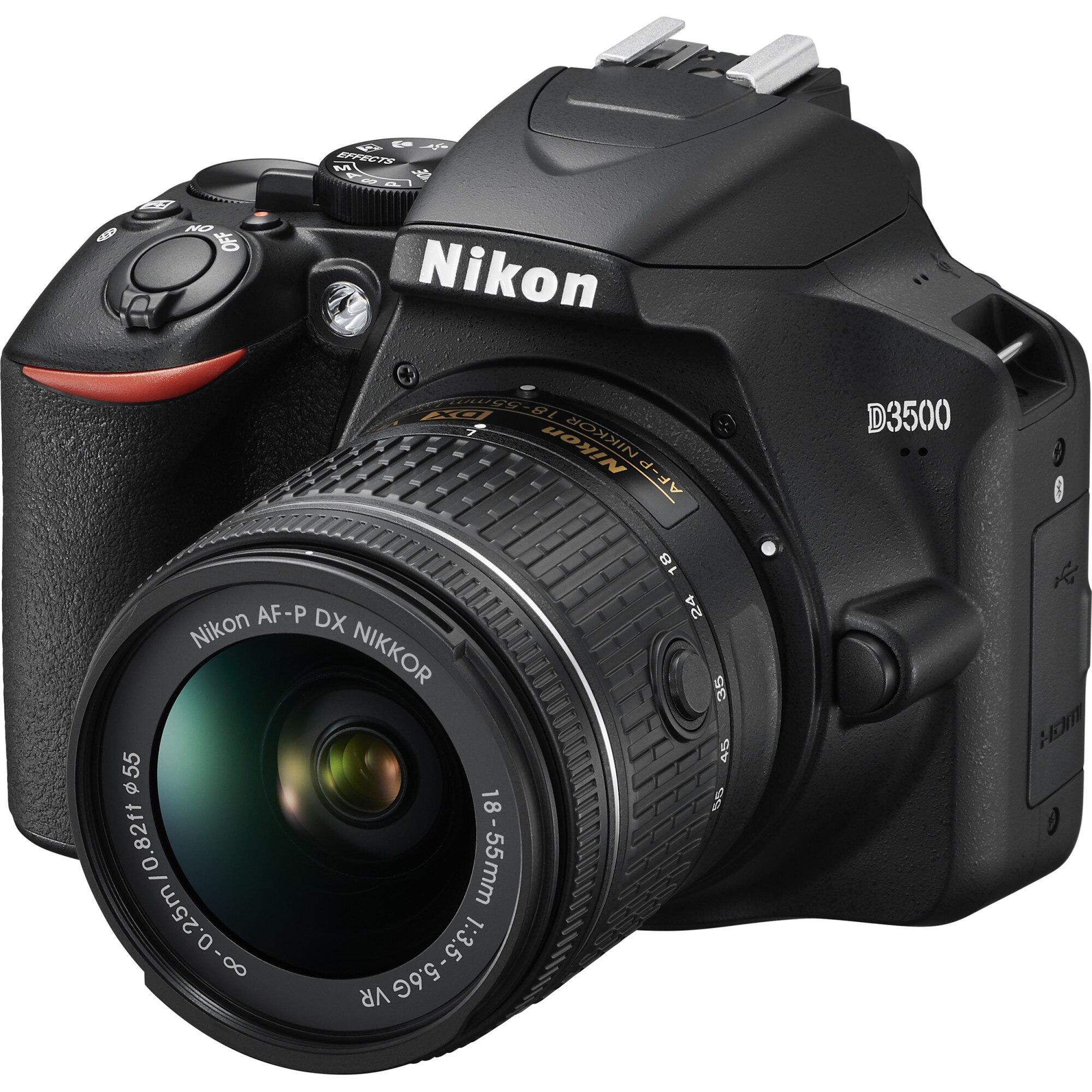 Fotografie Aparat foto DSLR Nikon D3500, 24.2MP, Negru + Obiectiv AF-P 18-55mm VR