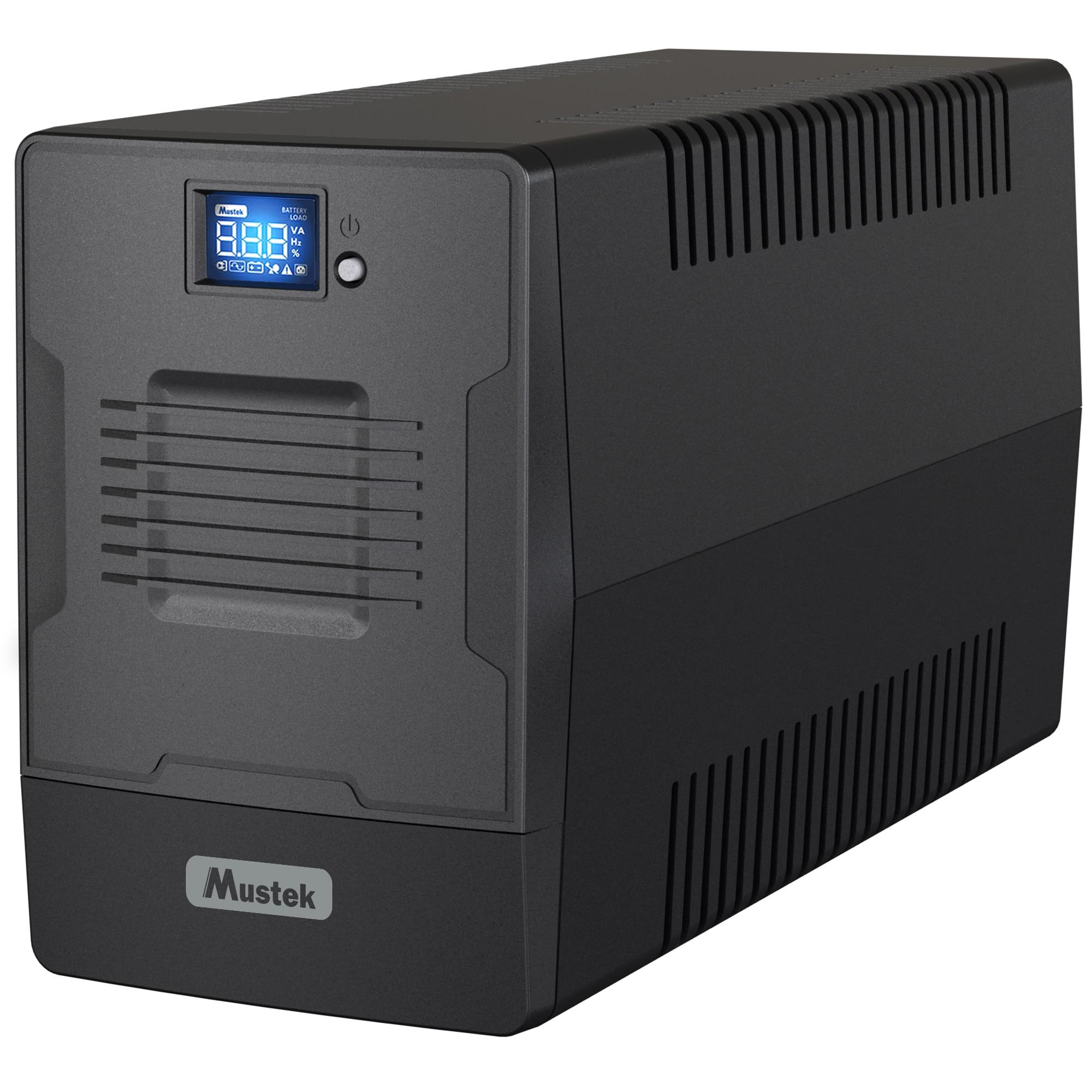 Fotografie UPS MUSTEK Line Int. cu management, LCD, 1000VA/ 600W, AVR, 2 x IEC & 2 x Shucko, display LCD, USB, combo RJ45, Fan