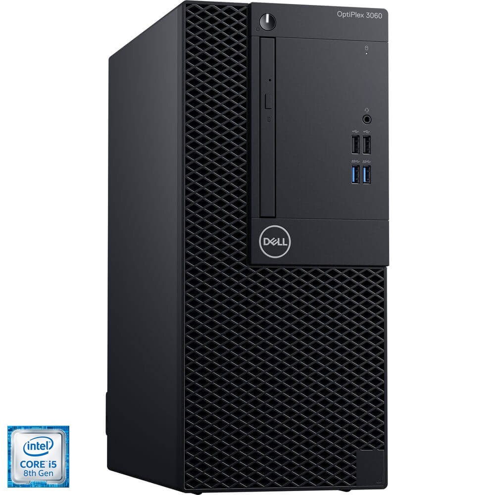 Fotografie Sistem Desktop PC Dell OptiPlex 3060 MT cu procesor Intel® Core™ i5-8500 pana la 3.40 GHz, Coffee Lake, 8GB, 1TB, DVD-RW, Intel® UHD Graphics 630, Microsoft Windows 10 Pro, Black