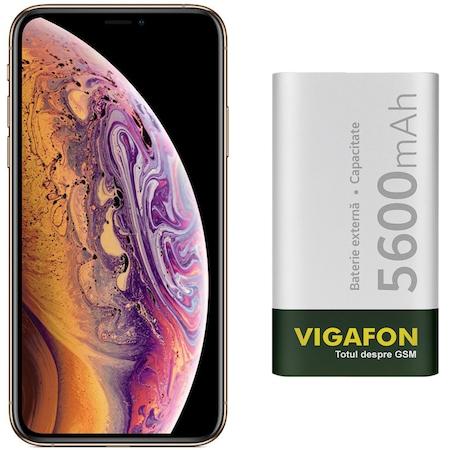 Pachet Promo Telefon mobil Apple iPhone XS, 256GB, Gold plus Folie Sticla 5D Full Cover, Husa Silicon Transparent si Baterie Externa VIGAFON 5600mAh