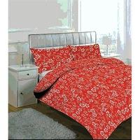 GGT-3 részes pamut ágyneműhuzat piros színben fehér virág minta