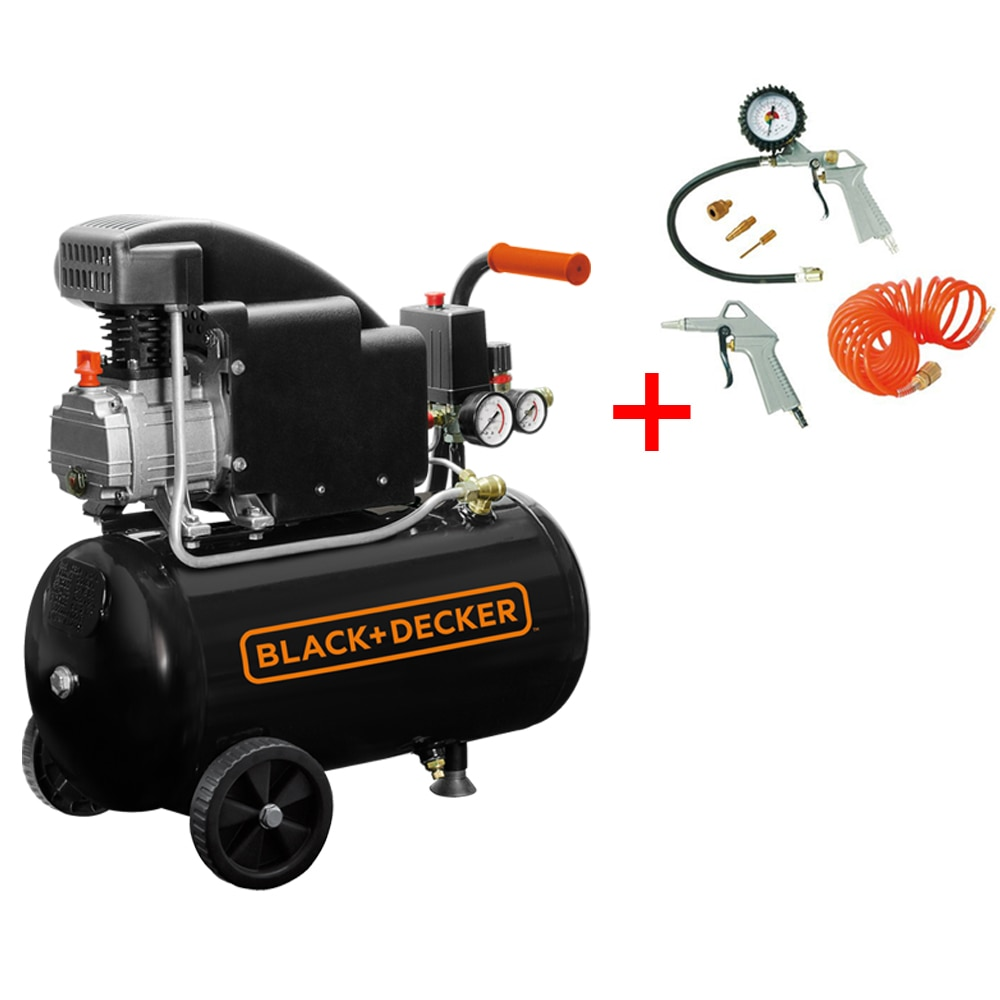 Fotografie Compresor aer Black & Decker, 1.5 CP, 24 l capacitate rezervor, 8 bar presiune maxima + kit 6 piese