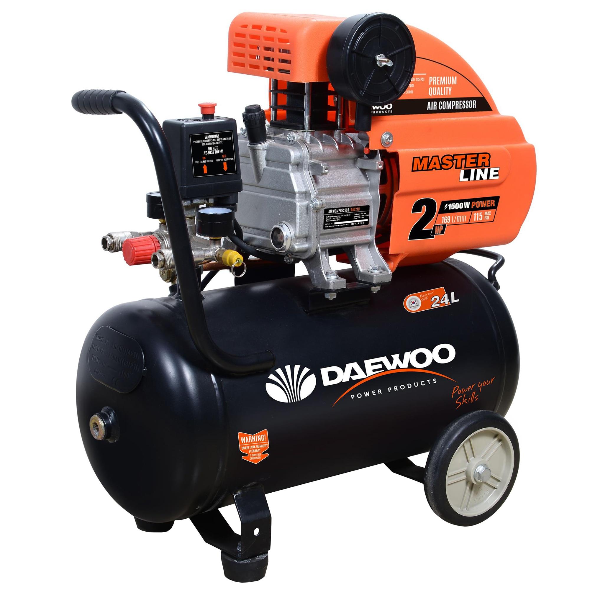 Fotografie Compresor aer Daewoo DAAC24D, 2CP, 1500 W, 24 l capacitate rezervor, 169 l/min , 8 bar presiune lucru
