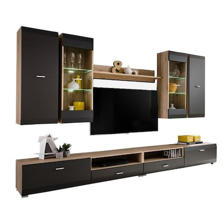 Комплект мебели за дневна Kring Genova със светлини, Stejar San Remo/Grafit, 280 x 195 x 46 см