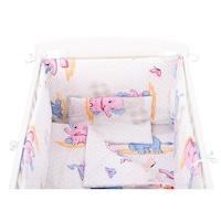 BabyNeeds Ágynemű készlet, 5 részes, 120x60 cm, Elefántos, Kék/Rózsaszín