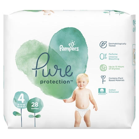Пелени Pampers Pure Protection 4, 9-14 кг, 28 броя