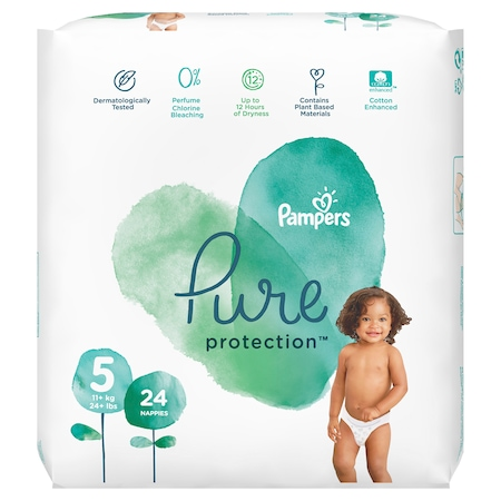 Пелени Pampers Pure Protection 5, 11 кг+, 24 броя