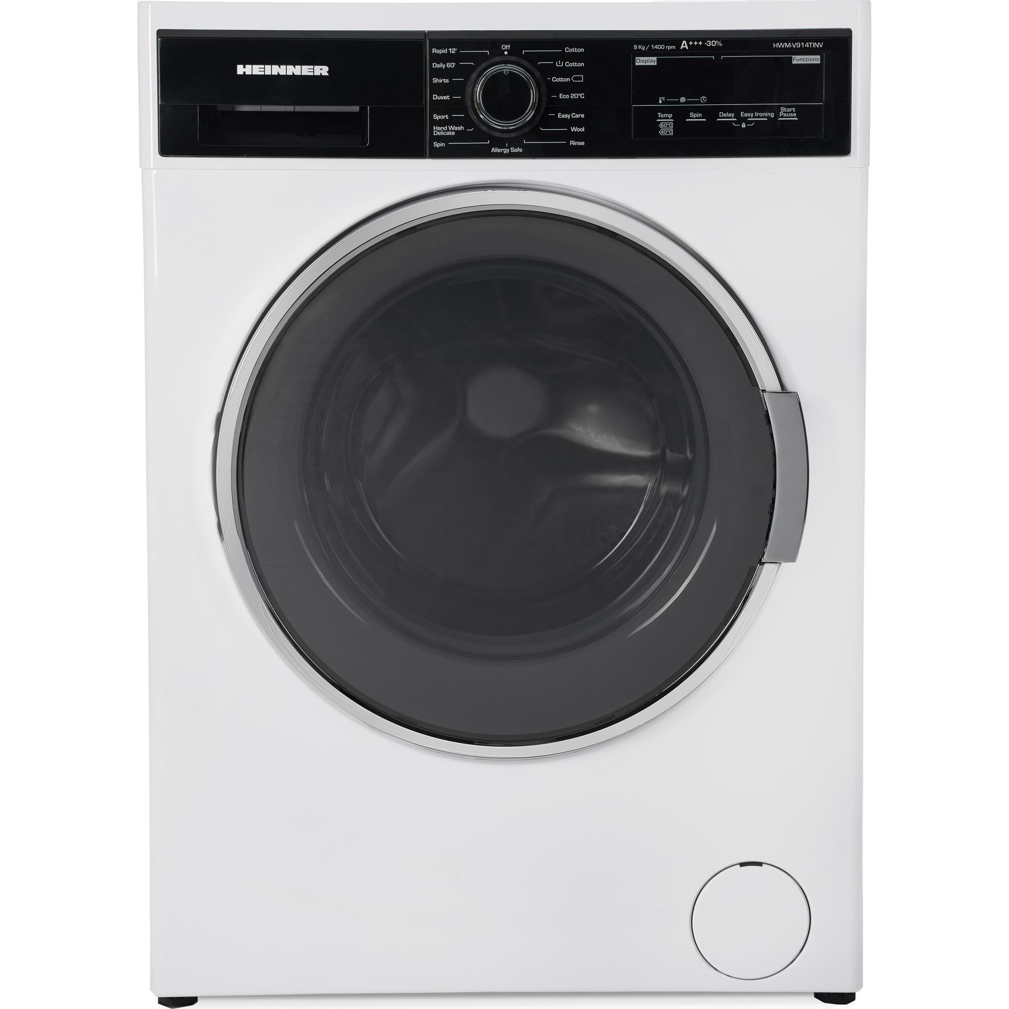 Fotografie Masina de spalat rufe Heinner HWM-V914TINV, 9 Kg, 1400 RPM, Clasa A+++, Display Digital, Touch control, Motor Inverter, 60 cm, Alb