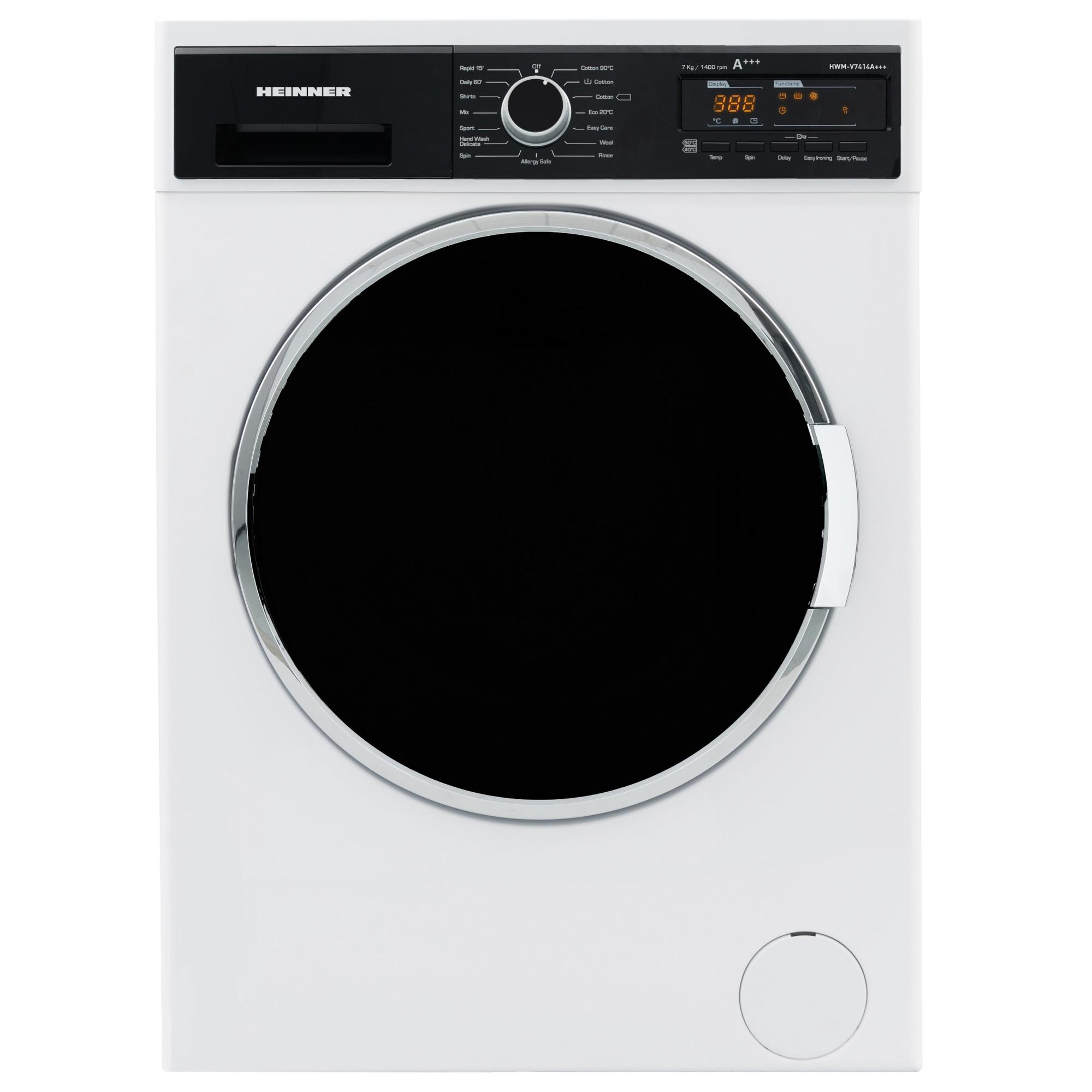 Fotografie Masina de spalat rufe Heinner HWM-V7414A+++, 7 Kg, 1400 RPM, Clasa A+++, Display Digital, Sistem Eco Logic, 60 cm, Alb