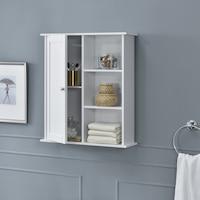 [en.casa]® Fürdőszoba fali szekrény 71 x 60 x 18 cm tároló polcokkal fehér vintage