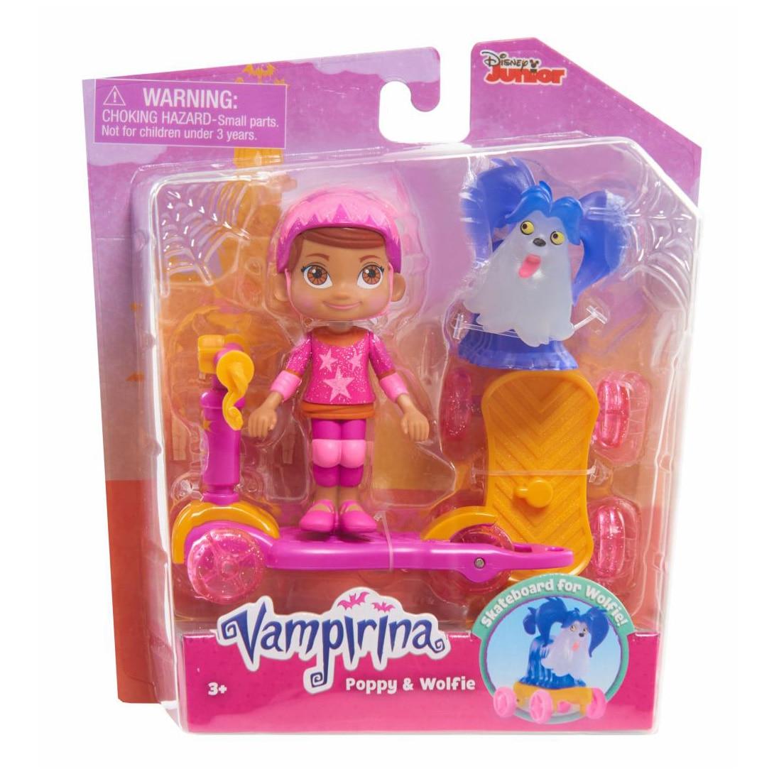 Fotografie Set figurine Disney Vampirina, Poppy si Lupi cu trotineta